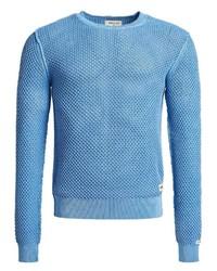 hellblauer Pullover mit einem Rundhalsausschnitt von khujo