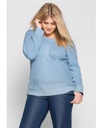 hellblauer Pullover mit einem Rundhalsausschnitt von SHEEGOTIT
