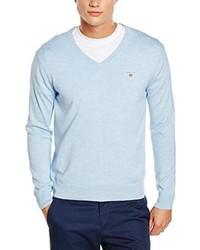 hellblauer Pullover mit einem V-Ausschnitt von Gant