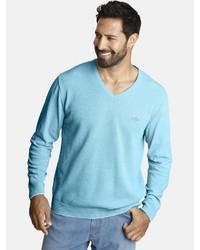 hellblauer Pullover mit einem V-Ausschnitt von Jan Vanderstorm