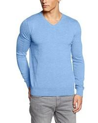 hellblauer Pullover mit einem V-Ausschnitt von Tom Tailor