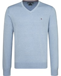 hellblauer Pullover mit einem V-Ausschnitt von Tommy Hilfiger