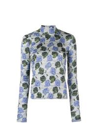 hellblauer Rollkragenpullover mit Blumenmuster von Christian Wijnants