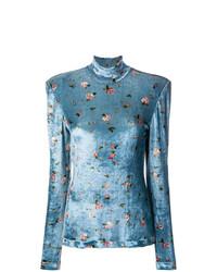 hellblauer Rollkragenpullover mit Blumenmuster von Philosophy di Lorenzo Serafini