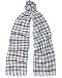 hellblauer Schal mit Karomuster von Loro Piana