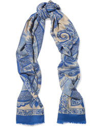 hellblauer Schal mit Paisley-Muster von Etro