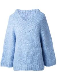 hellblauer Strick Oversize Pullover von Michael Kors