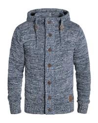 hellblauer Strick Pullover mit einem Kapuze von Solid