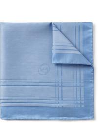 hellblaues Baumwolle Einstecktuch mit Schottenmuster von Gucci