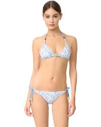 hellblaues bedrucktes Bikinioberteil von Stella McCartney