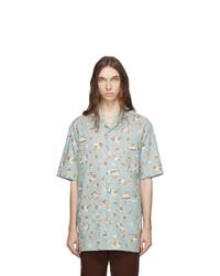 hellblaues bedrucktes Chambray Kurzarmhemd von Gucci