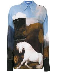 hellblaues bedrucktes Hemd von Stella McCartney