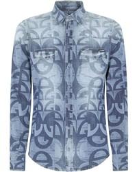 hellblaues bedrucktes Jeanshemd von Dolce & Gabbana