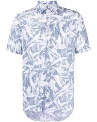 hellblaues bedrucktes Kurzarmhemd von Canali