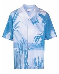 hellblaues bedrucktes Kurzarmhemd von Kenzo