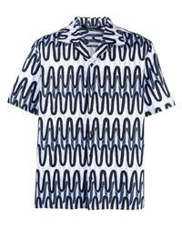 hellblaues bedrucktes Kurzarmhemd von Neil Barrett