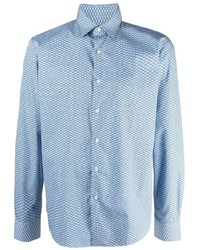 hellblaues bedrucktes Langarmhemd von Salvatore Ferragamo
