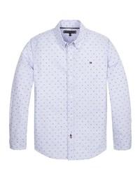 hellblaues bedrucktes Langarmhemd von Tommy Hilfiger