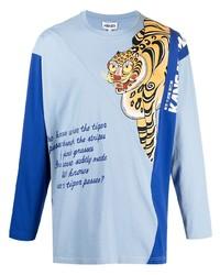 hellblaues bedrucktes Langarmshirt von Kenzo