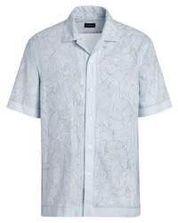 hellblaues bedrucktes Leinen Kurzarmhemd von Ermenegildo Zegna