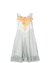 hellblaues bedrucktes schwingendes Kleid von Marco De Vincenzo