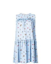hellblaues bedrucktes schwingendes Kleid von Vivetta