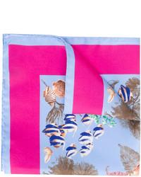hellblaues bedrucktes Seide Einstecktuch von Kiton