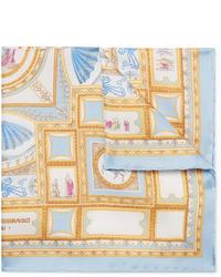 hellblaues bedrucktes Seide Einstecktuch von Rubinacci