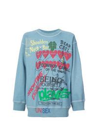 hellblaues bedrucktes Sweatshirt