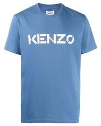 hellblaues bedrucktes T-Shirt mit einem Rundhalsausschnitt von Kenzo