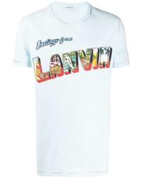 hellblaues bedrucktes T-Shirt mit einem Rundhalsausschnitt von Lanvin