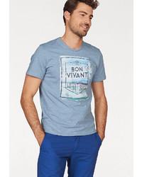 hellblaues bedrucktes T-Shirt mit einem Rundhalsausschnitt von Tom Tailor