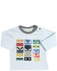 hellblaues bedrucktes T-shirt