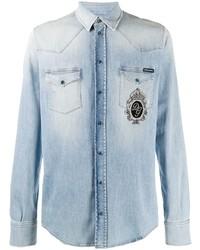 hellblaues besticktes Jeanshemd von Dolce & Gabbana