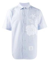 hellblaues besticktes Kurzarmhemd von Thom Browne