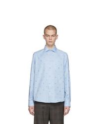 hellblaues besticktes Langarmhemd von Gucci