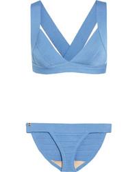 hellblaues Bikinioberteil von Herve Leger
