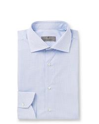 hellblaues Businesshemd mit Vichy-Muster von Canali