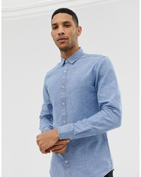 hellblaues Chambray Langarmhemd von ONLY & SONS