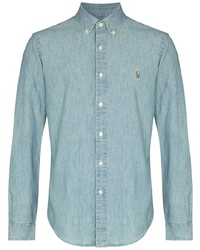 hellblaues Chambray Langarmhemd von Polo Ralph Lauren