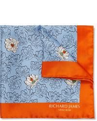 hellblaues Einstecktuch mit Blumenmuster von Richard James