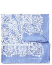 hellblaues Einstecktuch mit Paisley-Muster