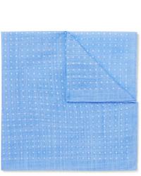 hellblaues gepunktetes Einstecktuch von Anderson & Sheppard