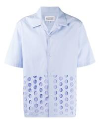 hellblaues gepunktetes Kurzarmhemd von Maison Margiela