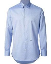 hellblaues gepunktetes Langarmhemd