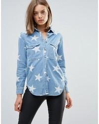 hellblaues Hemd mit Sternenmuster von Glamorous