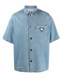 hellblaues Jeans Kurzarmhemd von Prada