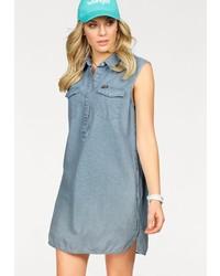 hellblaues Jeansshirtkleid von Wrangler