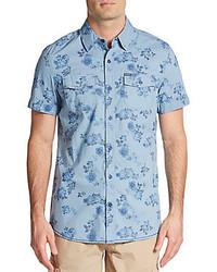 hellblaues Kurzarmhemd mit Blumenmuster