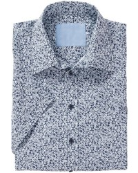hellblaues Kurzarmhemd mit Blumenmuster von Classic